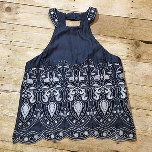 J.O.A Halter Style Beautiful Embroidered Top